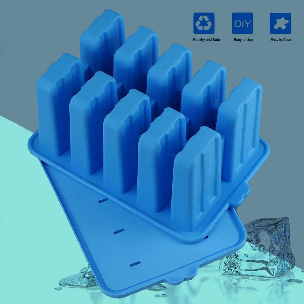Homemade Silicone Popsicle Molds,BPA Free Popcylce Molds,Reusable Popsicle Mold for Kids,Ice Cream Mold,Ice Pop Molds Maker with 50 Popsicles Sticks,50 Popsicle Bags,Cleansing Brush,Funnel Blue