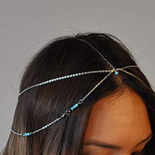 Asooll Boho Layered Turquoise Head Chain Silver Jewelry Festival Headpieces Prom Headband for Women and Girls