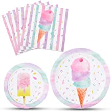 WERNNSAI Ice Cream Plates and Napkins - Ice Cream and Popsicle Theme Party Supplies for Girls Birthday Disposable Tableware Dessert Plates Luncheon Napkins Serves 16 Guests 48PCS