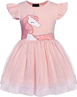 Little Girls Unicorn Tulle Dress Pageant Evening Ball Gowns Flower Party Tutu Dresses