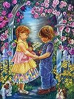 子供ダイヤモンド絵画花家の装飾モザイク風景刺繡ラインストーンクロスステッチキット針仕事フルスクエアドリル30×40cm