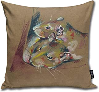FamilyToy Throw Pillow Cover Square Rat Duo III Pillow Cover for Sofa Bedroom Car Decor 18 x 18 Inch 45 x 45 cm