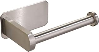 AbeTammy Adhesive Toilet Paper Holder - Self Adhesive Toilet Roll Holder for Bathroom Kitchen Stick on Wall Stainless Steel Brushed Nickel (Adhesive Toilet Paper Holder AK55)