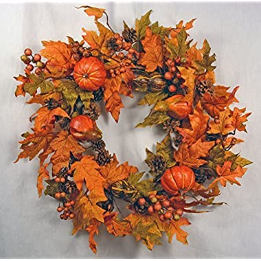Festive Fall 26  Wreath with Pumpkins, Berries, Pine Cones, Gourds and Maple Leaves