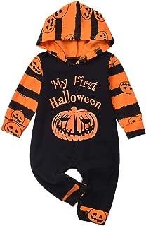 Baby Halloween Outfit First Halloween Pumpkin Hoodie Romper Onesie One-Piece Jumpsuit Costume for Toddler Boys Girls