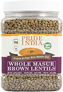 Pride Of India - Indian Whole Brown Crimson Masur Lentils - Protein & Fiber Rich Masoor Whole, 1.5 Pound Jar