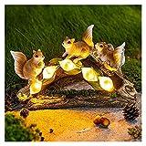 GYW Estatua De Jardín Arte Ardilla Figuras con 5 Luces De Lily Calla Adorno De Jardín Decoración De La Decoración De La Estatua Solar Al Aire Libre Impermeable Regalo De Jardín, Patio, Césped, Patio