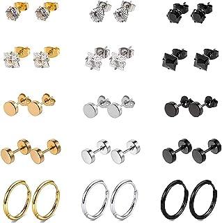 316L Surgical Stainless Steel Stud Earrings Set Small Hoop Earrings Hypoallergenic Tunnel Punk Style Round Ear Piercing Je...