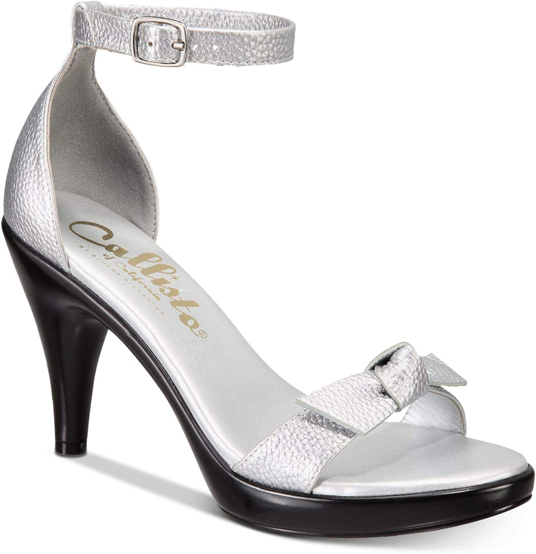 Callisto Womens Santee Open Toe Slingback Classic Pumps, Silver, Size 5.0