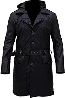 Mens Syndicate Michael Fassbender Brown Contrast Leather Trench Coat XXS to 3XL