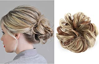 Curly Messy Hair Scrunchies Fake Bun Extensions Dark Brown Elastic Synthetic Hairpiece Hair Piece Scrunchy Curl Wrap Ponytail Tail Updo Accessories H2&12H24
