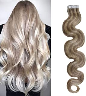 Moresoo 18inch Remy Tape in Hair Extensions Human Hair Highlighted Color #18 Ash Blonde with #613 Blonde Body Wave Seamless Skin Weft Human Hair Extensions 20PC 50G Full Hair