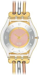 Swatch Ladies Tri Gold Stainless Steel Bracelet Watch