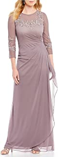 Women's Long A Line Illusion Sweetheart Neck Dress (Petite and Regular)