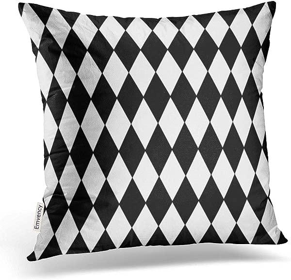 Emvency 抱枕套黑色白色丑角图案装饰枕套涤纶 18x 18 英寸方形隐藏拉链家用靠垫装饰枕套