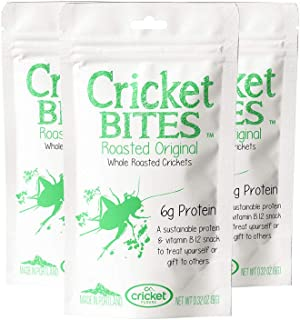 Cricket Bites Gift 3-Pack of Roasted Original Flavor (North American Crickets - Made in Portland, Oregon) by Cricket Flours