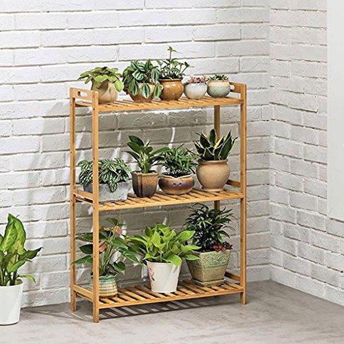Support de fleur de bambou en bois solide multicouche, support de plante se pliante de plancher intérieur de salon, support de pot de fleur (Couleur : 66cm)