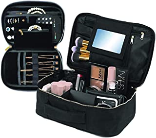 Travel Makeup and Jewelry Set   2pc Luxury Cosmetic Case with Mirror and No-Tangle Jewelry Organizer   Made with, Water-Resistant, and Easy to Clean Materials