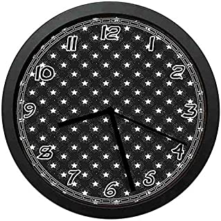 128 buyloii Grungy Background with Doodle Stars and Rays as Dashed Lines Starburst Theme Black and White Wall Clock Home Office School Clock 10in