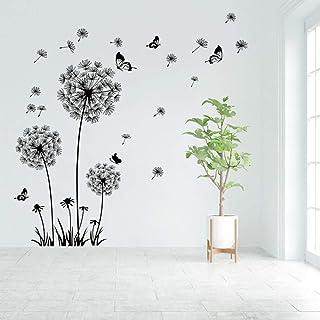 Runtoo Pegatinas de Pared Diente de León Mariposa Stickers Adhesivos Vinilo Flores Negro Decorativas Salon Dormitorio Habi...