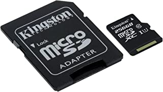 Kingston Canvas Select 256GB microSDHC Class 10 microSD Memory Card UHS-I 80MB/s R Flash Memory Card with Adapter (SDCS/256GB)