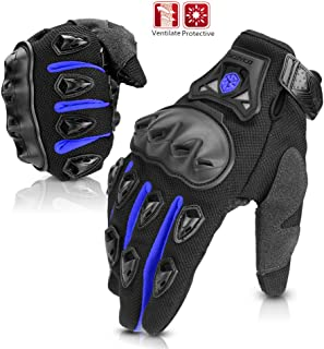 SCOYCO Anti-Slip Breathable Reinforced Adjustable Cycling Full Finger Motorcycle Gloves(BLUE,XL)
