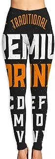 Yoga Pants Womens Vintage Style Font with Simple Label Design, Alphabet Letters. High Waist Workout Pants