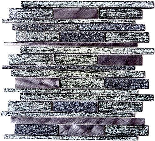 Mosaik Fliese Transluzent Aluminium schwarz Verbund Glasmosaik Crystal Stein Alu schwarz für WAND KÜCHE FLIESENSPIEGEL THEKENVERKLEIDUNG Mosaikmatte Mosaikplatte