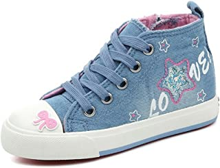 [XINXIKEJI] ハイカット 子供靴 レースアップ 女の子 男の子 ガールズ ボーイズ キッズシューズ スニーカー デッキシューズ 17.0-23.0cm 履きやすい 滑り止め 通気 軽い 星柄 コンフォート 可愛い 通学靴 運動靴 ネイビー ブルー
