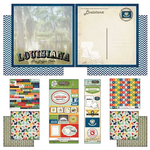 Scrapbook Customs Themed Paper and Stickers Scrapbook Kit, Louisiana Vintage