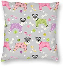 Pillowcases Schnauzers in Jammies Cute Dogs in Pajamas Pyjamas - Grey for Sofa Bedroom livingroomTwo Sides Printing 18x18 inch