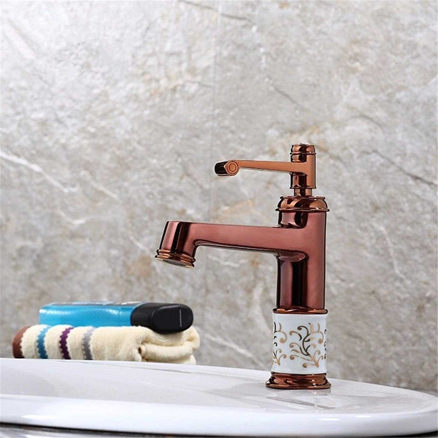 Commercial Single Lever Pull Down Kitchen Sink Faucet Brass Constructed Polished European All-Copper Hot and Cold pink gold Antique Waterfall Faucet Basin Bathroom Kitchen Hotel