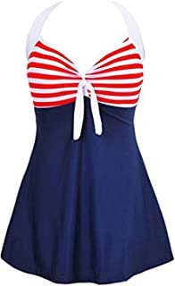 MiYang Vintage Sailor Pin up Swimsuit One Piece Skirtini Cover up Swimdress