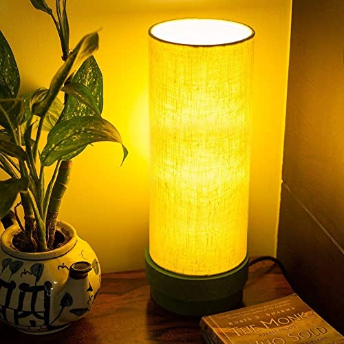 ExclusiveLane 14 Inch Wooden Table Lamp In Green