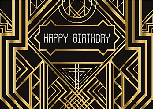 Daniu Great Gatsby Themed Photography Backdrop Great for Wedding Birthday Party Photo Background Prop Studio Golden Decor Backdrops (7x5FT (210cm X 150cm)
