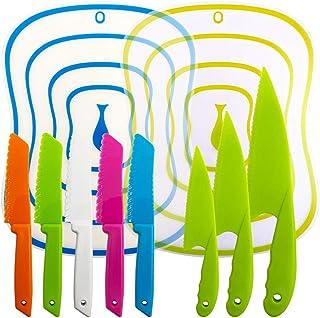 YuCool Lot de 10 couteaux de cuisine avec planches à découper pour enfants et adultes Multicolore
