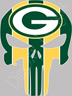 Packers Punisher Sport Fan Sticker Full Color Decals. Outdoor Rated for up to 7 Years!