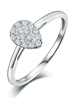 Daesar Anelli Donna Fidanzamento Oro Bianco 18K, A Forma di Pera Diamante 0.15ct Anello in Oro Bianco