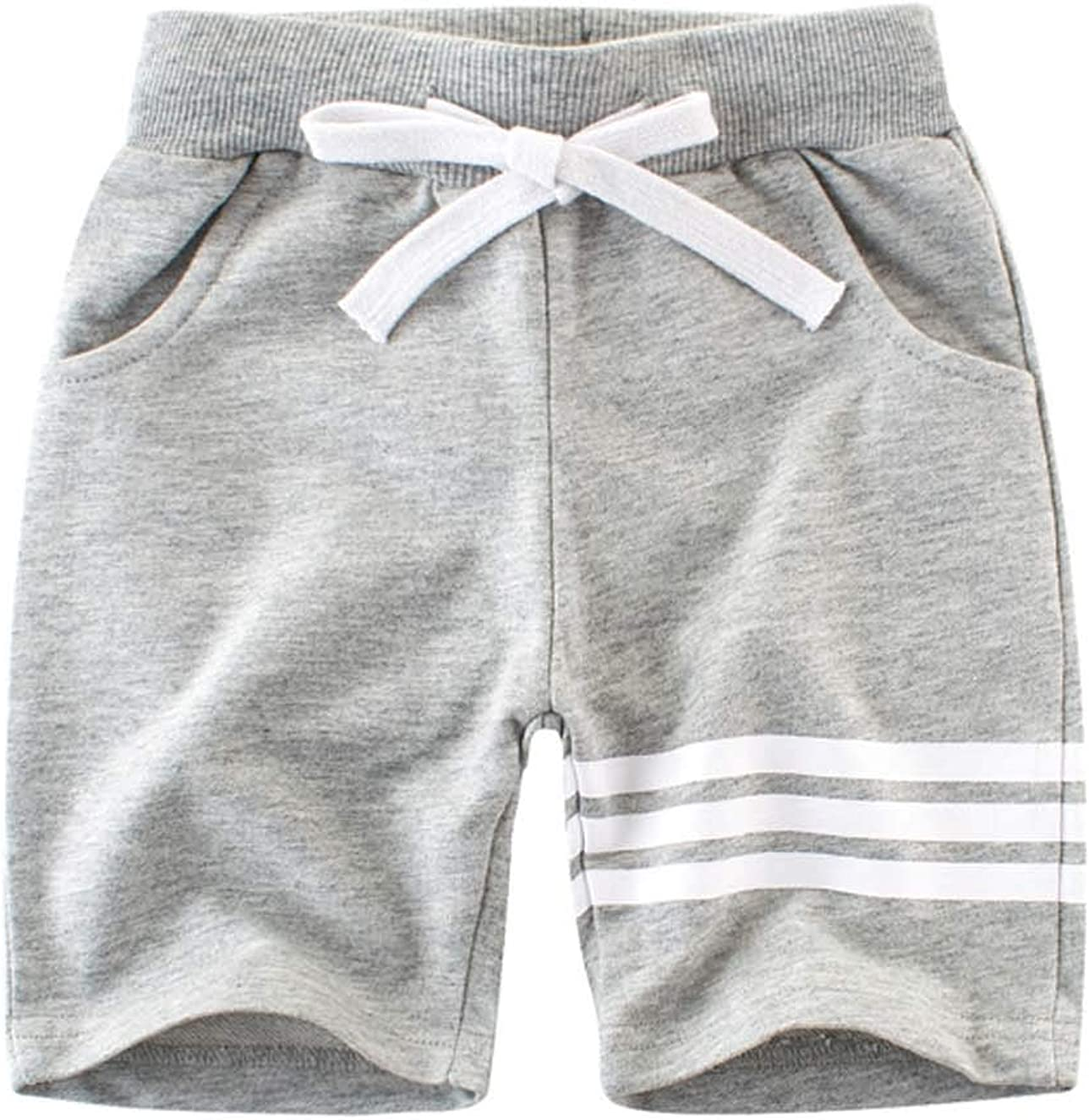 Askong Boys Summer Sport Lounge Waistband Knit Stripe Shorts Pant with Pocket for 1-10 Years