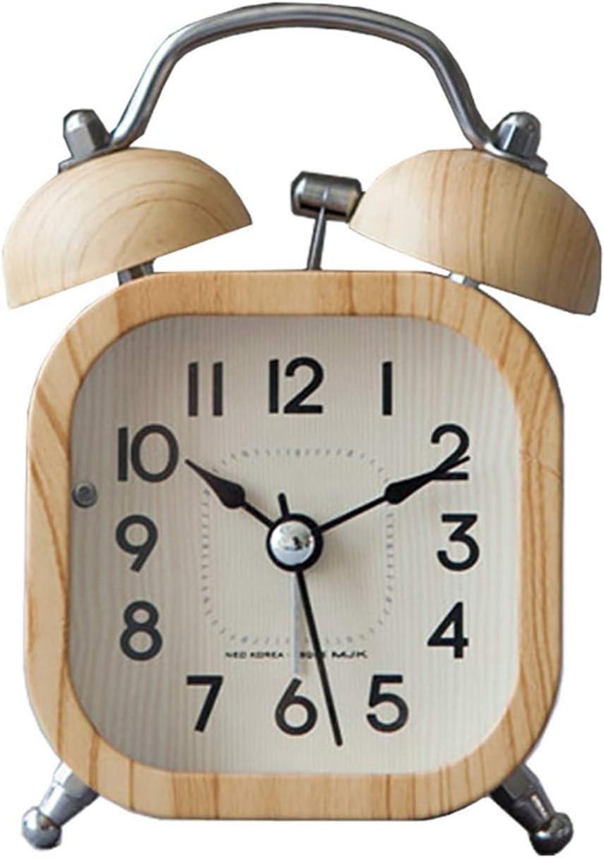 FIRMLEILEI Alarm Clock Luminous Mute Luxury Product Ling Retro Wooden Clo