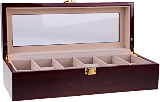 MagiDeal 6 Slots Wine Red Solid Wooden Wood Watch Box Jewelry Organizer with Glass Display Top