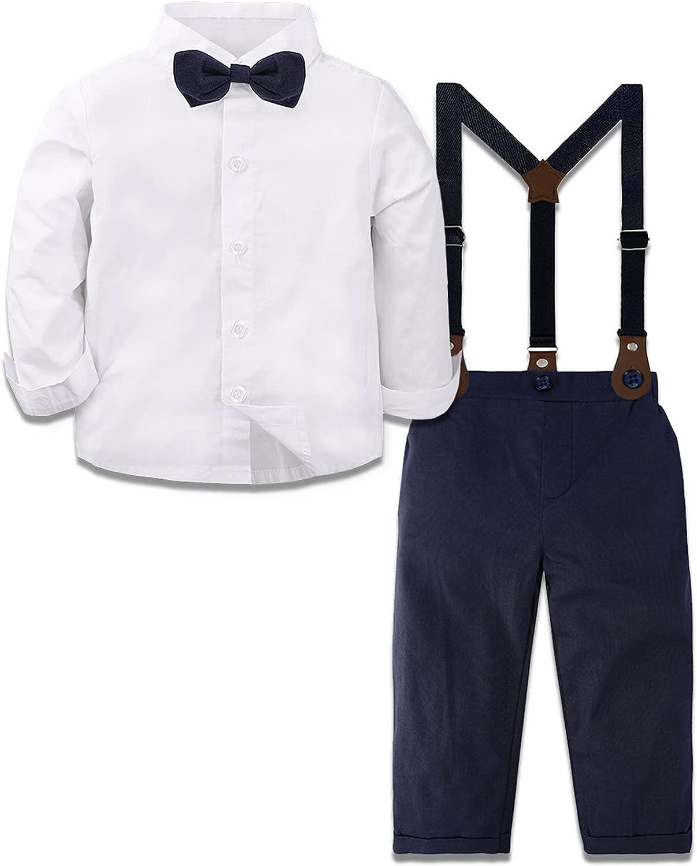 A&J DESIGN Baby Boys Gentleman Outfit Set, 3pcs Toddler Suit Shirt & Suspender & Pants