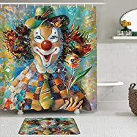 WOTAKA シャワーカーテン バスマット 2点セット 面白いアートワーク生きている油絵花とピエロの肖像画 自家 寮用 ホテル 間仕切り 浴室 バスルーム 風呂カーテン 足ふきマット 遮光 防水 おしゃれ 12個リング付き