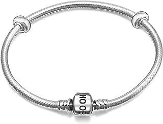 Hoobeads 925 Sterling Silver Snake Chain Bracelet with 2 Stopper Beads Charms Bracelet