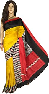Yellow Indian Bengal Style Women Pure Silk Sari Blouse With Beautiful Black and Red Border Festive Party Traditional Wear 985