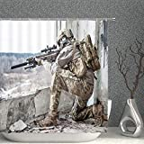 AMNYSF Soldier Holding Gun Decor Shower Curtain Outdoor Military Training Ruins Warrior Camouflage Uniform,70x70 Inch Polyester Fabric Bathroom Accessories Curtains Hooks