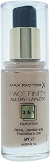 Max Factor Facefinity All Day Flawless 3 In 1 Foundation SPF 20 - # 50 Natural For Women 30 ml Foundation