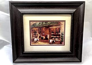 """K French Italian Country Pazzoria Pizzeria Bakery & Cafe Scene Print Framed Brown Wall Art Kitchen Dining Pantry Decorative Painting Picture 15""""x12"""""""