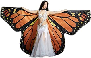 Rainbow Butterfly 360 Degree Big Butterfly Golden Wing Wings Dancing Color Butterfly Props (Color : Orange, Size : M)