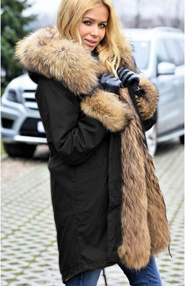 Aox Damenmode Faux Pelzmantel Warm Verdicken Plus Größe Kapuze Mantel Parka Dame Winter Lässige Mantel Schnee Anorak Schwarz 2009